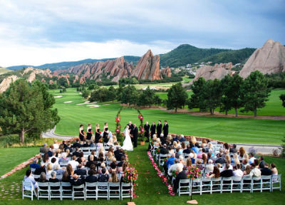 Large outdoor marriage ceremony that needs speaker rentals